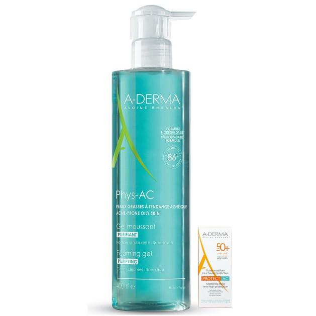 A-Derma Phys-AC Gel Moussant Purifiant Εξυγιαντικό Αφρίζον Gel Καθαρισμού Προσώπου 400ml & Δώρο Protect AC Fluide Spf50+, 5ml