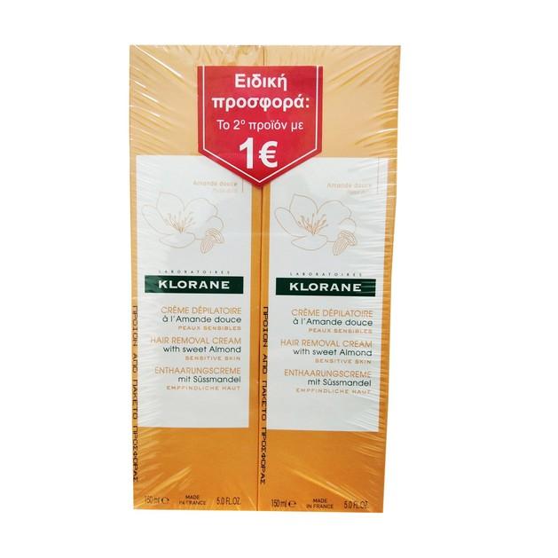 Klorane Hair Removal Creme With Sweet Almond Απαλή Αποτριχωτική Κρέμα Ειδική Προσφορά το 2ο Προιόν με 1€ 2x150ml