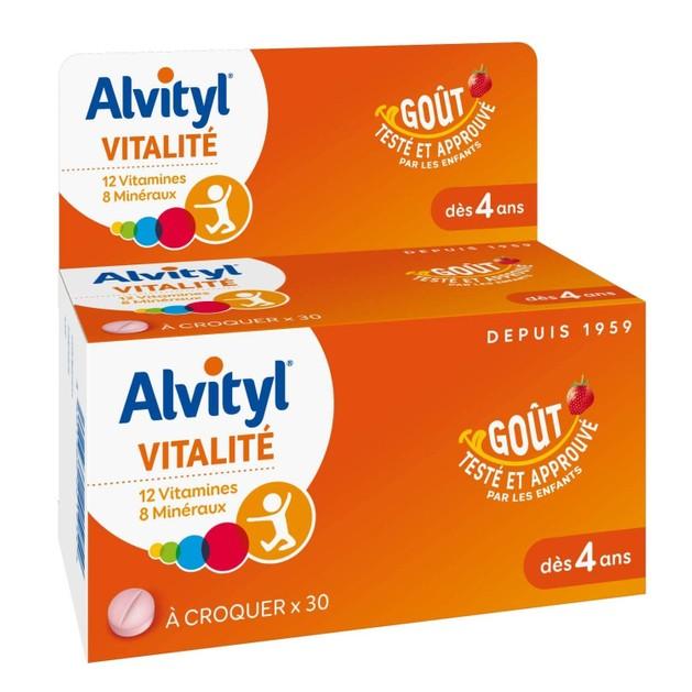 Alvityl Vitality 12 Vitamines Παιδικό Συμπλήρωμα Διατροφής με 12 Βιταμίνες & 8 Μεταλλικά Στοιχειά και Γεύση Φράουλα 30 Δισκία