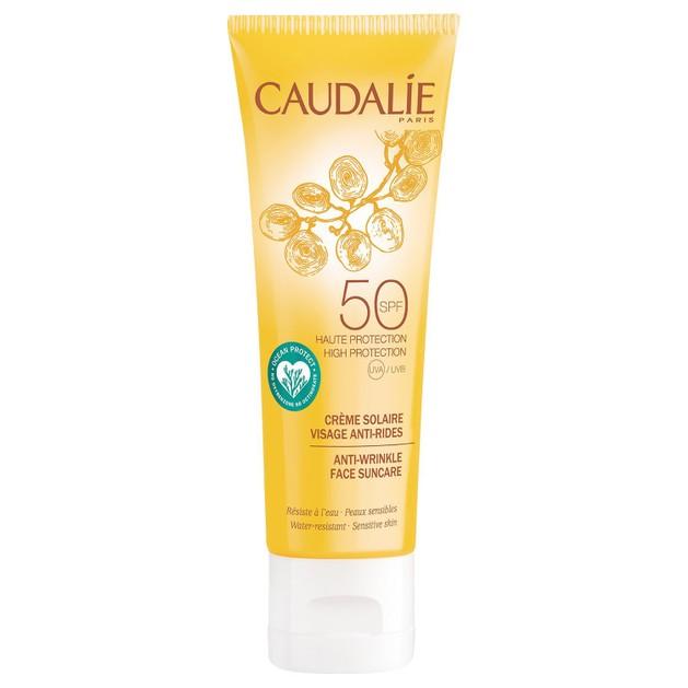 Caudalie Anti-Wrinkle Face Suncare Spf50 Αντηλιακή Αντιγηραντική Κρέμα Προσώπου Πολύ Υψηλής Προστασίας 25ml