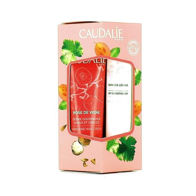 Caudalie Promo Rose De Vigne Hand and Nail Cream Ενυδατική Αρωματική Κρέμα 30ml & Lip Conditioner  για τα Ξηρά Χείλια 4,5gr
