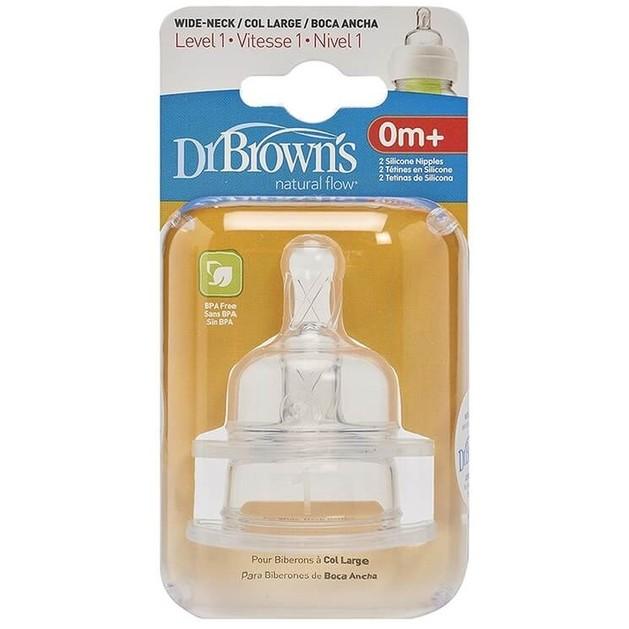 Dr. Brown\'s Θηλές Σιλικόνης για Μπιμπερό με Φαρδύ Λαιμό, Επίπεδο 1, για Βρέφη 0 - 3 μηνών 2τμχ 352-GB