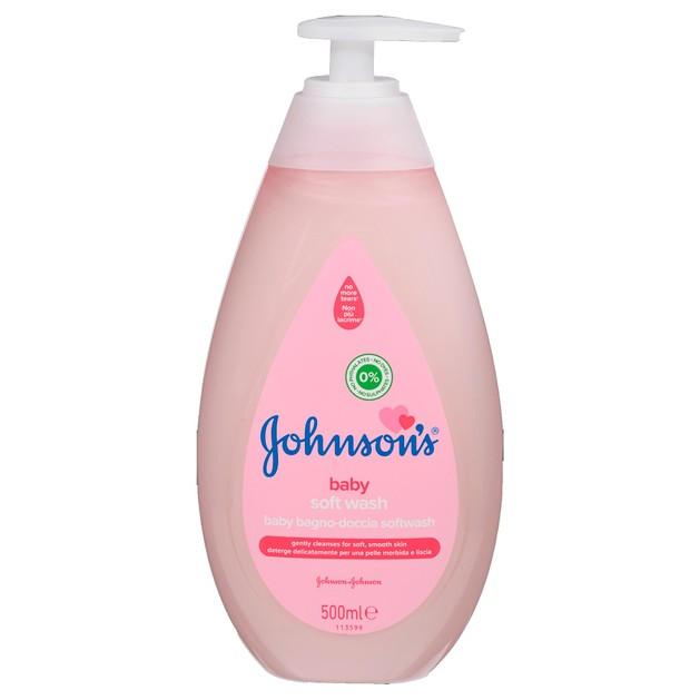 Johnson\'s Baby Soft Wash Αφρόλουτρο που Καθαρίζει Απαλά την Ευαίσθητη Επιδερμίδα του Μωρού και την Αφήνει Ενυδατωμένη 500ml