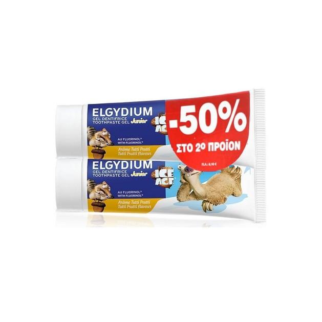 Elgydium Πακέτο Προσφοράς Junior Toothpaste Ice Age Παιδική Οδοντόκρεμα Gel με Γεύση Tutti Frutti για Παιδιά 7-12 Ετών 2x50ml