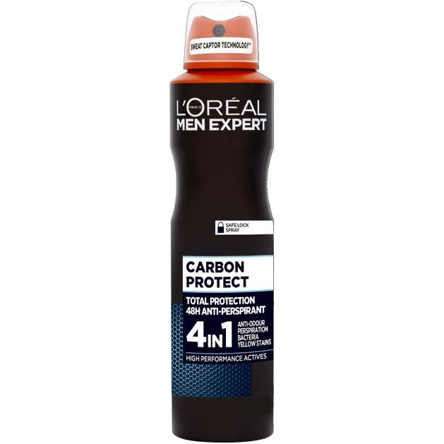 L\'oreal Paris Men Expert Carbon Protect Spray Ανδρικό Αποσμητικό με 48ωρη Ολική Προστασία Ενάντια στον Ιδρώτα 150ml