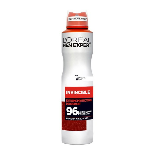 L\'oreal Paris Men Expert Invincible Spray Ανδρικό Αποσμητικό Spray με 96ωρη Πολύ Υψηλή Προστασία Ενάντια στον Ιδρώτα 150ml
