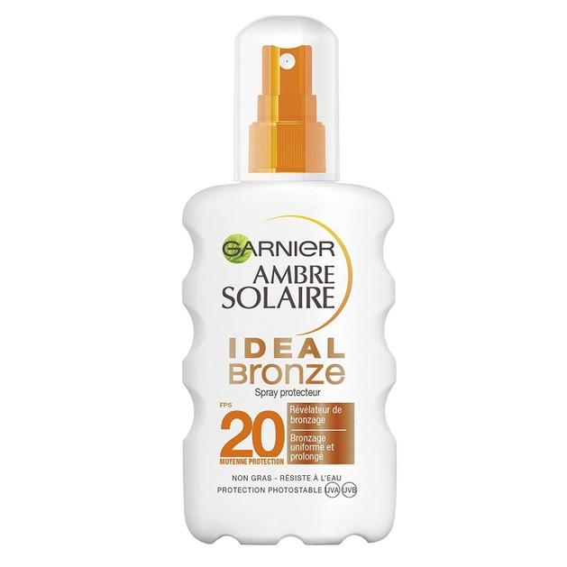 Garnier Ambre Solaire Ideal Bronze Tan Enchancing Protection Spray Spf20 Μέτρια Αντηλιακή Προστασία για Λαμπερό Μαύρισμα 200ml