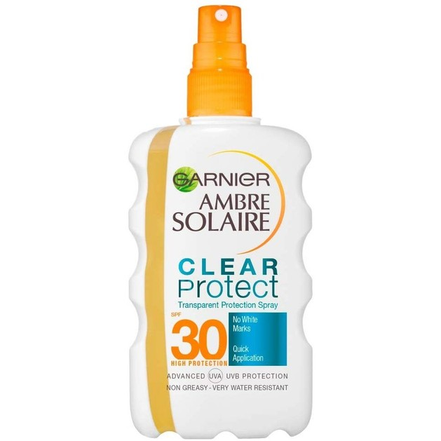 Garnier Ambre Solaire Clear Protect Transparent Protection Spray Spf30 Διάφανο Αντηλιακό Ενυδατικό Spray Υψηλής Προστασίας 200ml