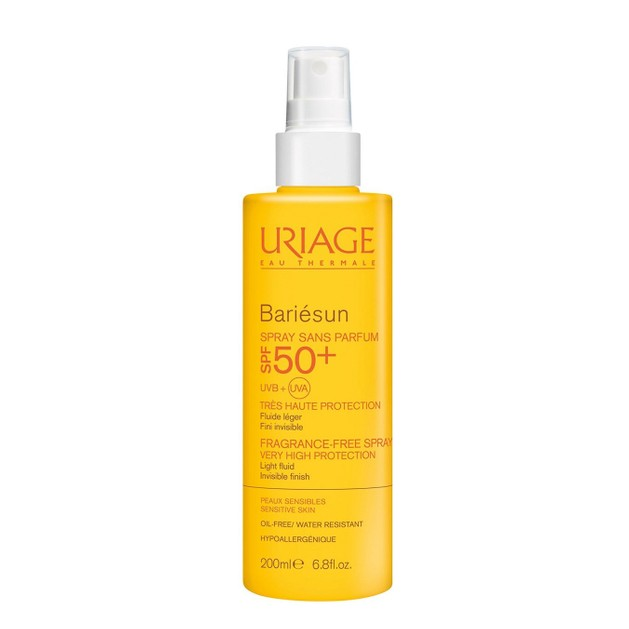 Uriage Bariesun Spf50+ Fragrance Free Spray Light Fluid Αντηλιακό Λεπτόρρευστο Γαλάκτωμα Προσώπου Σώματος Χωρίς Άρωμα 200ml