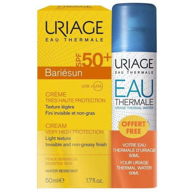 Uriage Promo Bariesun Cream Spf50+ Very High Protection Light Texture 50ml & Δώρο Eau Thermal Water 50ml