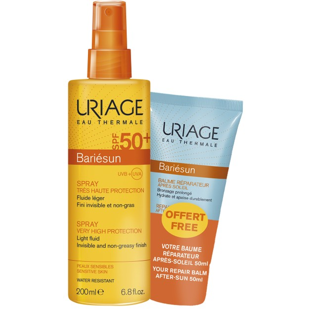 Uriage Promo Bariesun Spf50+ Very High Protection Spray Light Fluid 200ml & Δώρο Repair Balm Face & Body After Sun 50ml