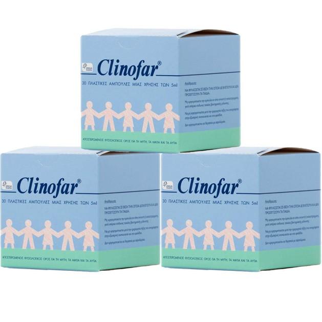 3 x Clinofar Αποστειρωμένος Φυσιολογικός Ορός Για Τη Μύτη & Τα Μάτια 30 x 5ml