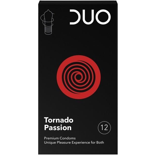 Duo Προφυλακτικά Tornado Passion Με Σχήμα Ανεμοστρόβιλου Και Ραβδώσεις 12 τεμάχια