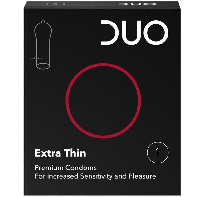 Δείγμα Duo Extra Thin Λεπτό Προφυλακτικό για Μεγαλύτερη Αίσθηση & Ευχαρίστηση 1 Τεμάχιο
