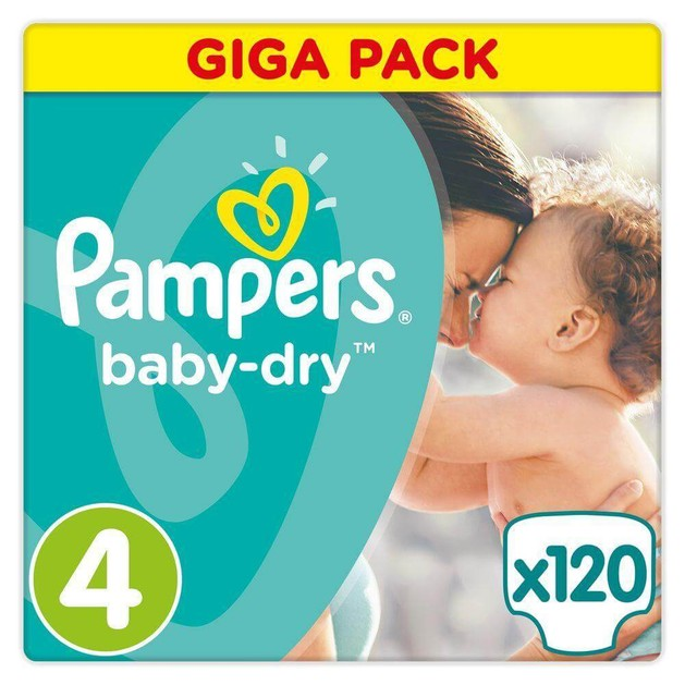 Pampers Baby Dry Giga Pack No 4 Maxi (8-16kg), 120 πάνες, Μόνο 0,24€ / πάνα