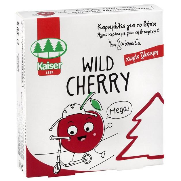 Kaiser Wild Cherry Καραμέλες για το Βήχα Χωρίς Ζάχαρη με Άγριο Κεράσι & Φυσική Βιταμίνη C 50gr