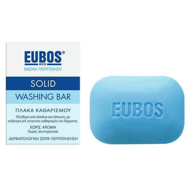 Eubos Solid Washing Bar Στερεή Πλακά Σαπουνιού για Καθαρισμό Προσώπου & Σώματος 125 gr Blue