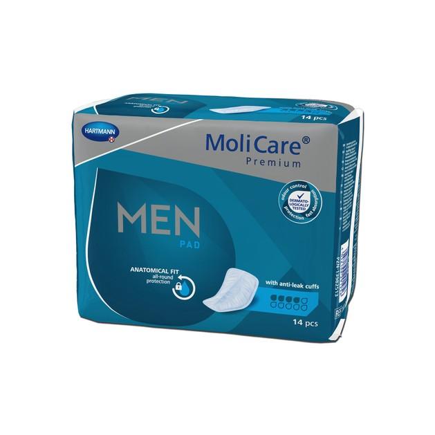 Hartmann MoliCare Premium Men Pad Επιθέματα Ακράτειας για Άντρες 4 Σταγόνες 14 Τεμάχια