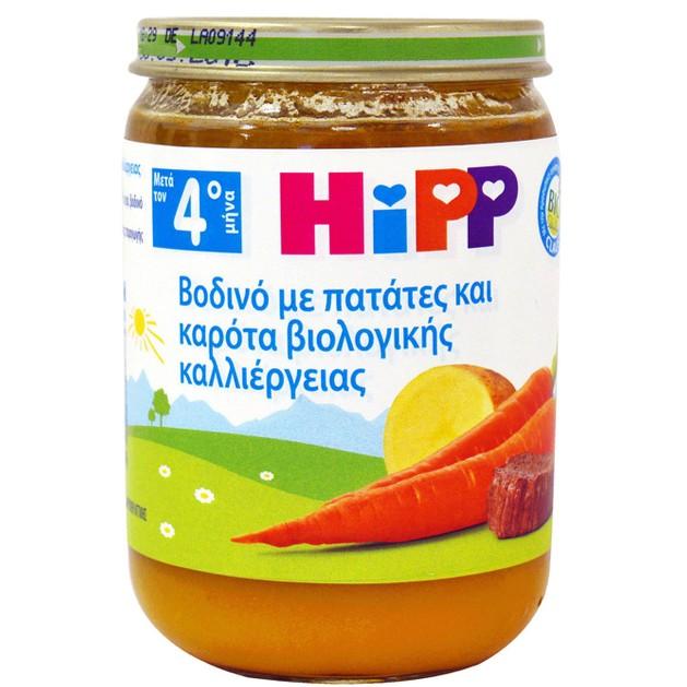 HiPP Γεύμα Βοδινό Με Πατάτες Και Καρότα Βιολογικής Παραγωγής 190gr