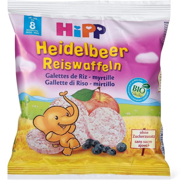 Hipp Heidelbeer Reiswaffeln Παιδικό Ρυζογκοφρετάκι με Μήλο & Βατόμουρο από τον 8ο Μήνα 30gr