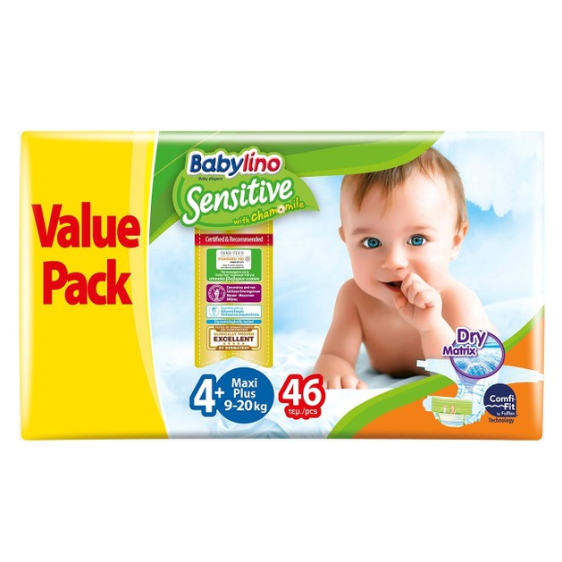 Babylino Sensitive Value Pack Maxi Plus Νο4+ (9-20kg) Βρεφικές Πάνες 46 τεμάχια