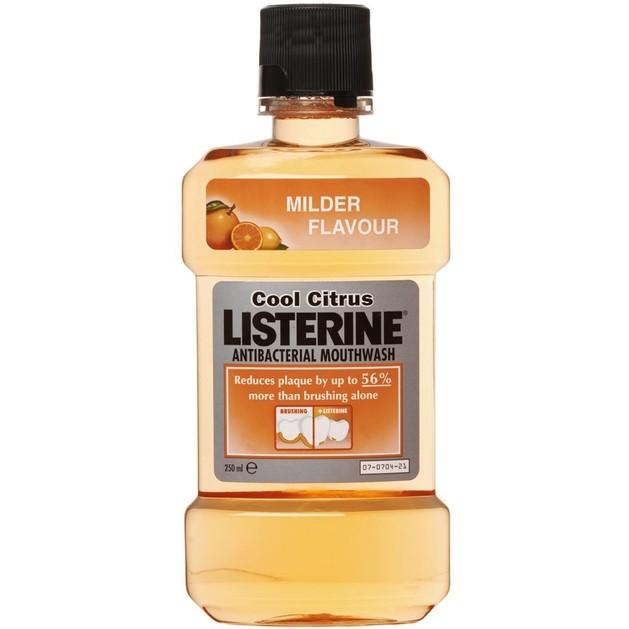 Listerine Solution Cool Citrus Καταπολεμά τα Μικρόβια που Προκαλούν την Οδοντική Πλάκα και την Κακοσμία 250ml
