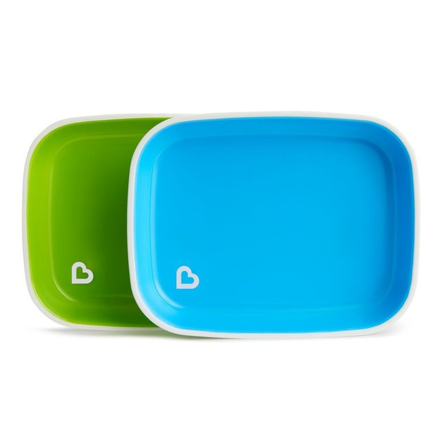 Munchkin Splash Plates Set Πιάτα με Αντιολισθητικό Πάτο Γαλάζιο - Πράσινο 2τμχ