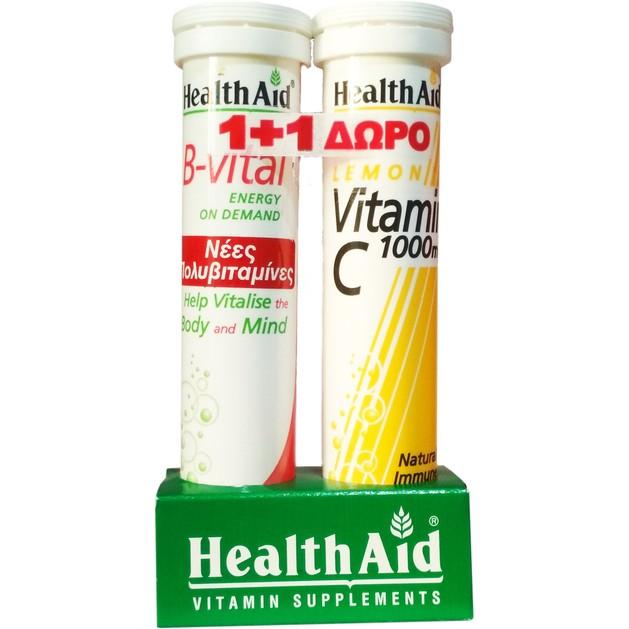 Health Aid Πακέτο Προσφοράς B-Vital Apricot 20eff.tabs & Δώρο Vitamin C Lemon 1000mg 20eff.tabs