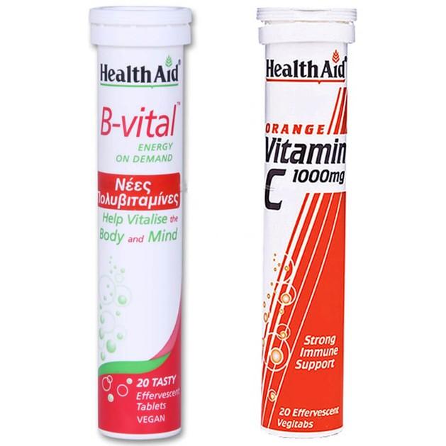 Health Aid Πακέτο Προσφοράς B-Vital Apricot 20eff.tabs + Δώρο Vitamin C Orange 1000mg 20eff.tabs