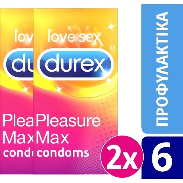 Durex Πακέτο Προσφοράς Pleasuremax Προφυλακτικά, Μέγιστη Διέγερση με Ανάγλυφες Κουκίδες & Ραβδώσεις 2 x 6 Τεμάχια σε Ειδική Τιμή