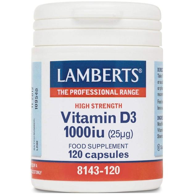 Lamberts Vitamin D3 1000iu Συμπλήρωμα Διατροφής για τη Διόρθωση των Ανεπαρκειών της Βιταμίνης D 120 caps