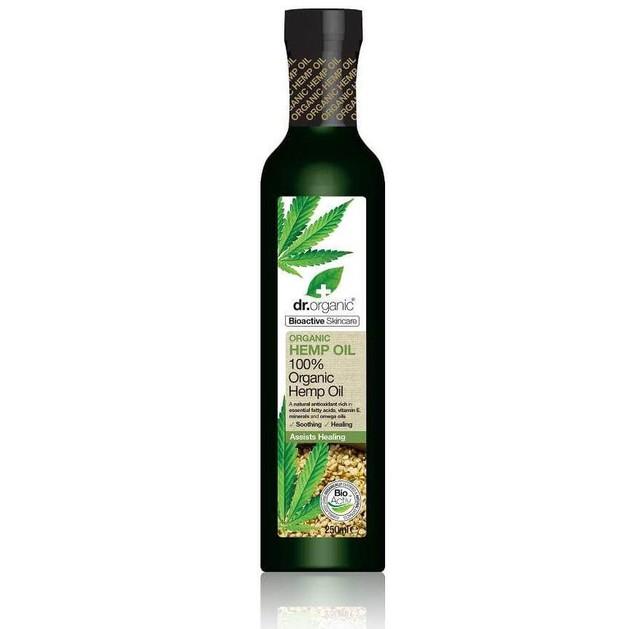 Dr Organic Organic Hemp Seed Pure Oil Cold Pressed Οργανικό Κανναβέλαιο για Ενυδάτωση του Προσώπου Χωρίς Ίχνη Λιπαρότητας 250ml