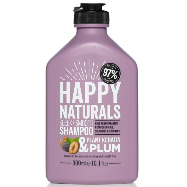 Happy Naturals Sleek + Smooth Shampoo Plant Keratin & Plum Σαμπουάν Ιδανικό για Έλεγχο του Φριζαρίσματος & Έξτρα Λάμψη 300ml