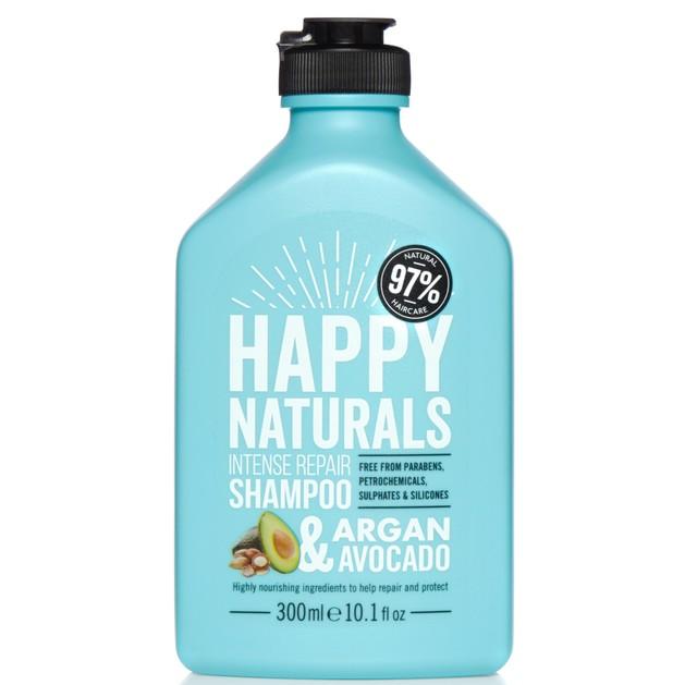 Happy Naturals Intense Repair Shampoo Argan & Avocado Επανορθωτικό Σαμπουάν για Ξηρά & Ταλαιπωρημένα Μαλλιά 300ml