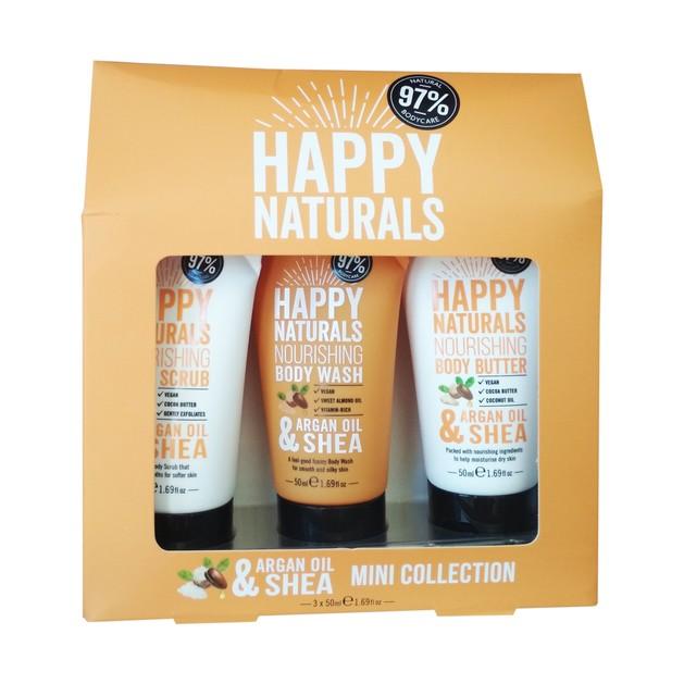 Happy Naturals Argan Oil & Shea Mini Collection, Συσκευασία Δώρου 3 Mini Προϊόντων Περιποίησης Σώματος 3x50ml