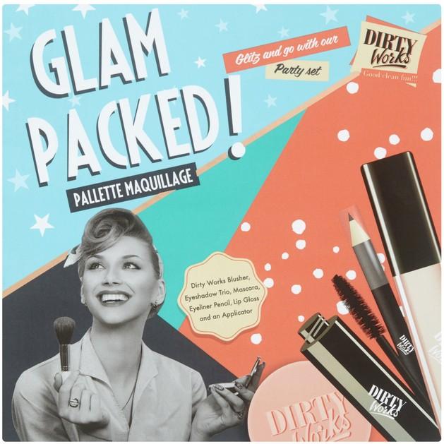 Dirty Works Glam Packed,Peachy Blusher 10g,Neutral Eyeshadow Trio 2.3g,Lip Gloss Nude 6ml,Eyeliner Black 1.5g,Mascara Black 5ml