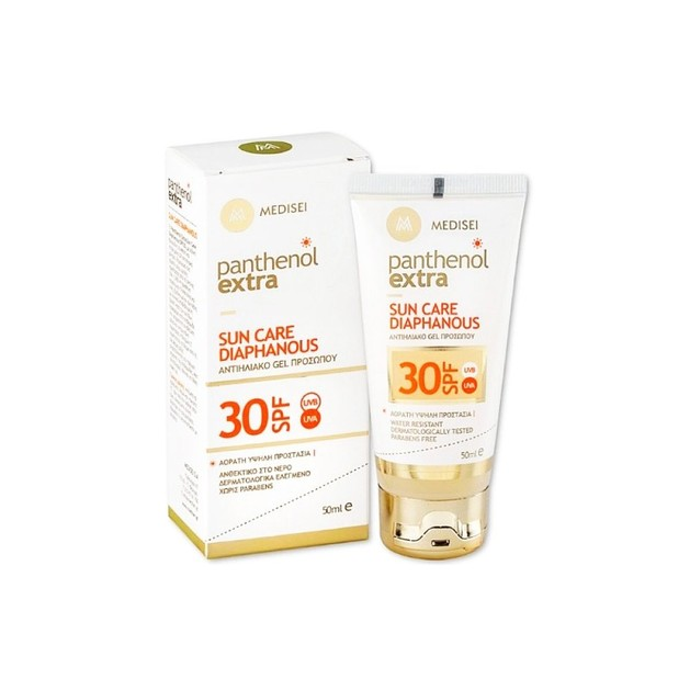 Panthenol Extra Sun Care Diaphanous Spf30 Αντηλιακή Κρέμα Τζελ Προσώπου 50ml
