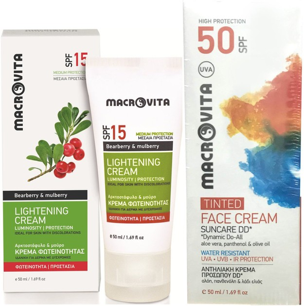 Macrovita Πακέτο Προσφοράς Lightening Cream Spf15, 50ml & Δώρο Suncare Face Cream Tinted Spf50, 50ml
