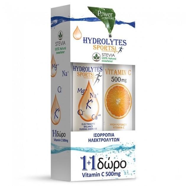 Power of Nature PROMO Hydrolytes Sports Υδρολύτες με Stevia & ΔΩΡΟ Βιταμίνη C 500mg 2 x 20tabs