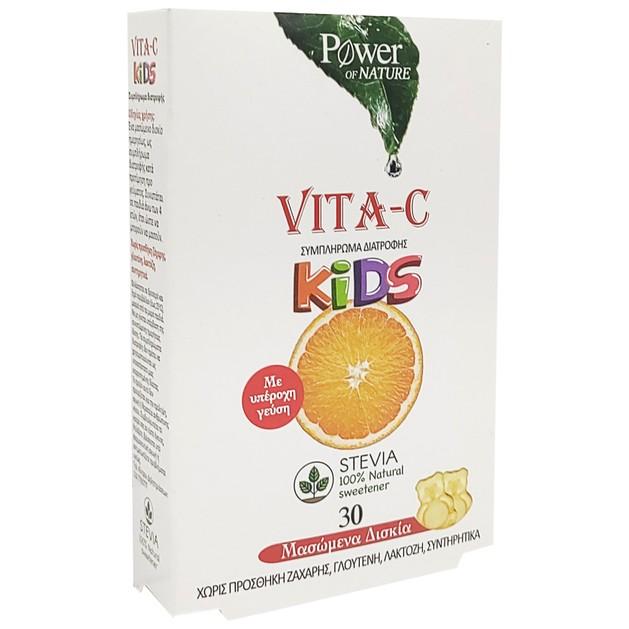 Power Health Vita-C Kids Συμπλήρωμα Διατροφής με Βιταμίνη C Μόνο Για Παιδιά με Γλυκαντικό Από το Φυτό Stevia 30 Μασώμενα Δισκία
