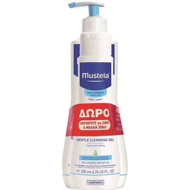 Mustela Πακέτο Προσφοράς Gentle Cleansing Gel Βρεφικό-Παιδικό Gel Καθαρισμού, Σώμα-Μαλλιά 500ml & Δώρο Επιπλέον Ποσότητα 200ml