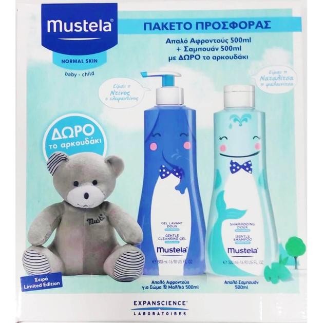 Mustela Πακέτο Προσφοράς Gel Lavant Doux Απαλό Αφροντούς 500ml & Shampooing Doux Απαλό Shampoo 500ml & Δώρο Λούτρινο Αρκουδάκι