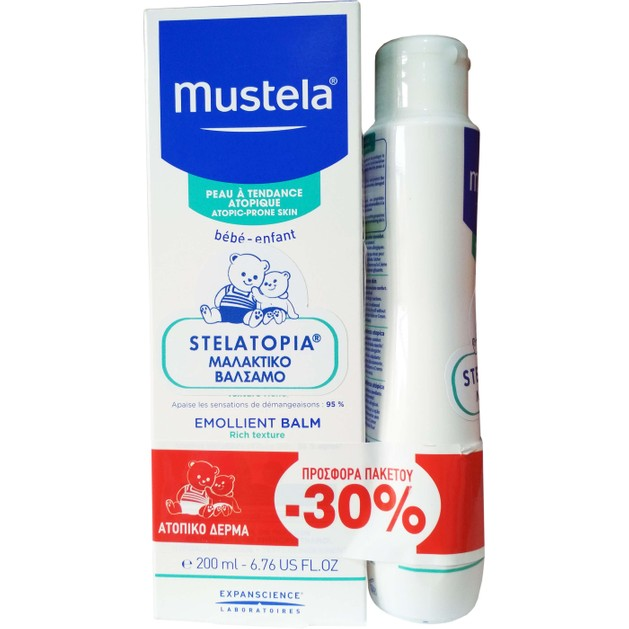 Mustela Πακέτο Προσφοράς Stelatopia Atopic Skin Emollient Balm 200ml & Stelatopia Bath Oil 200ml Promo -30%