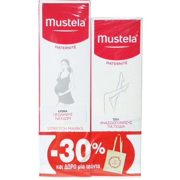Mustela Πακέτο Προσφοράς Stretch Marks Prevention Cream 150ml & Light Legs Gel 125ml & Δώρο Τσάντα Promo -30%