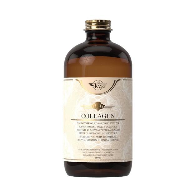 Sky Premium Life Collagen Συμπλήρωμα Διατροφής, Υδρολυμένο Πόσιμο Κολλαγόνο Τύπου Ι με Γεύση Φράουλα 480ml