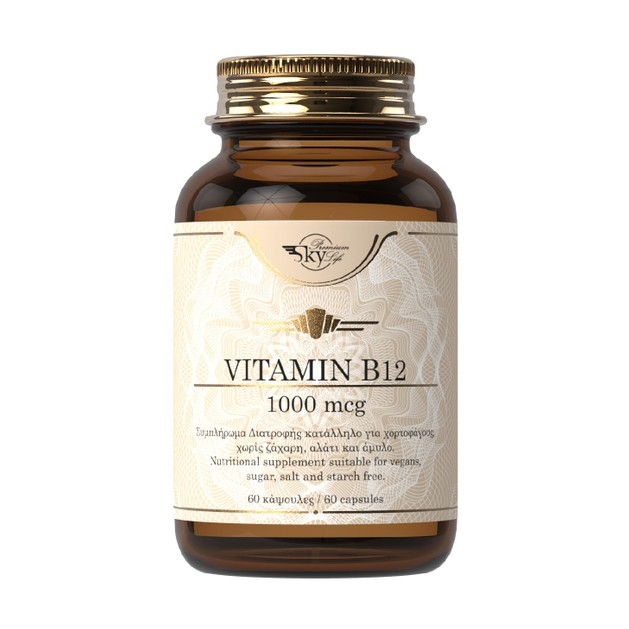 Sky Premium Life Vitamin B12 1000mcg Συμπλήρωμα Διατροφής για την Φυσιολογική Λειτουργία του Νευρικού Συστήματος 60VegCaps
