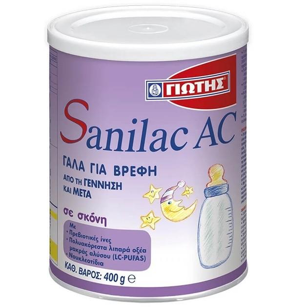 Sanilac AC Γάλα Ειδικής Διατροφής Κατά των Κολικών, για Βρέφη από την Γέννηση και Μετά 400gr