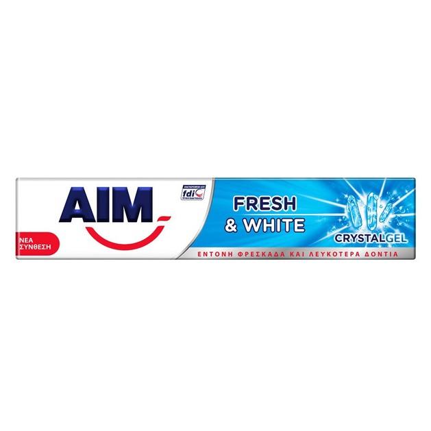 Aim Fresh & White Crystal Gel Οδοντόκρεμα για Έντονη Φρεσκάδα & Λευκότερα Δόντια 75ml