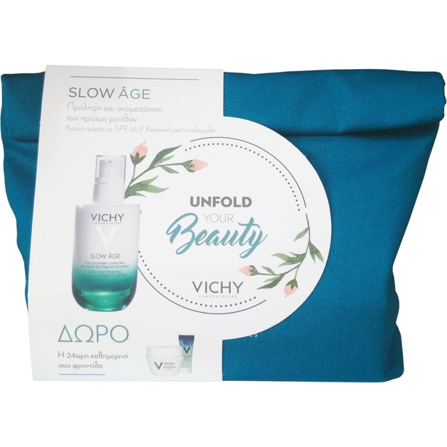 Vichy Πακέτο Προσφοράς Slow Age Spf25 για Κανονική/Μικτή Επιδερμίδα, 50ml & Δώρο Slow Age Night 15ml,Mineral 89,4ml