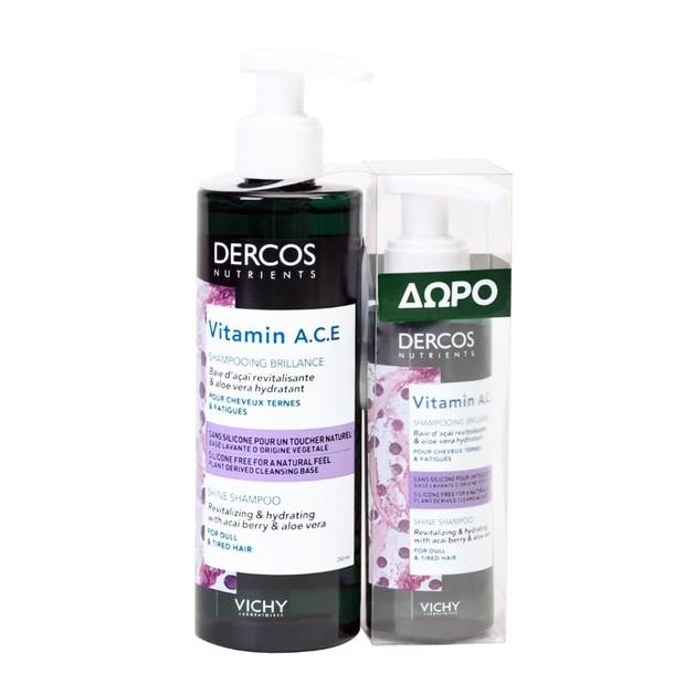Vichy Promo Dercos Nutrients Vitamin A.C.E Shampooing Brillance Σαμπουάν Λάμψης 250ml & Δώρο Dercos Vitamin A.C.E Shampoo 100ml